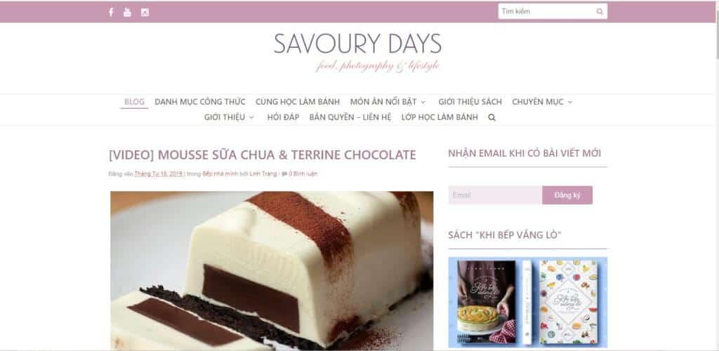 Web dạy nấu ăn Savoury Days