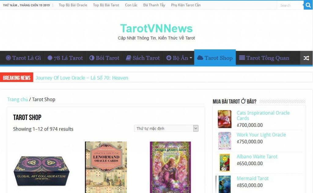 Cửa Hàng Bán Bài Tarot gốc, hàng chính hãng đổi trả tự do