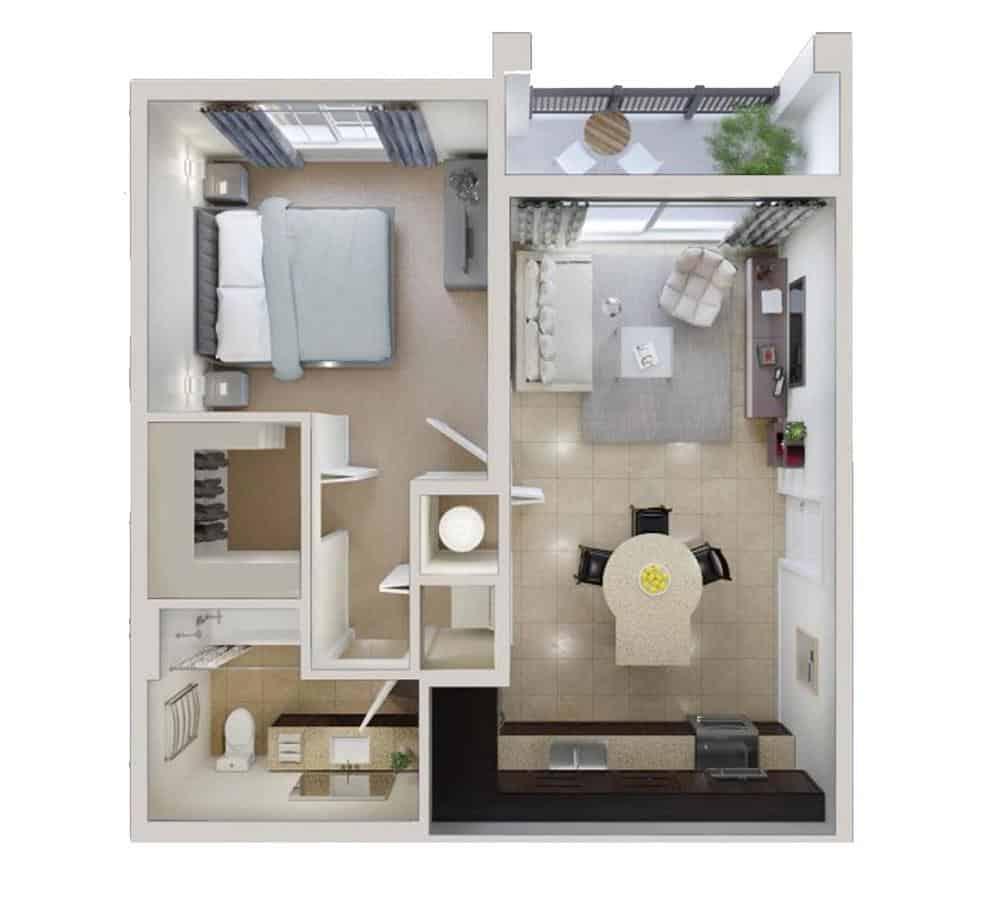 thiết kế nội thất 1 phòng ngủ đẹp