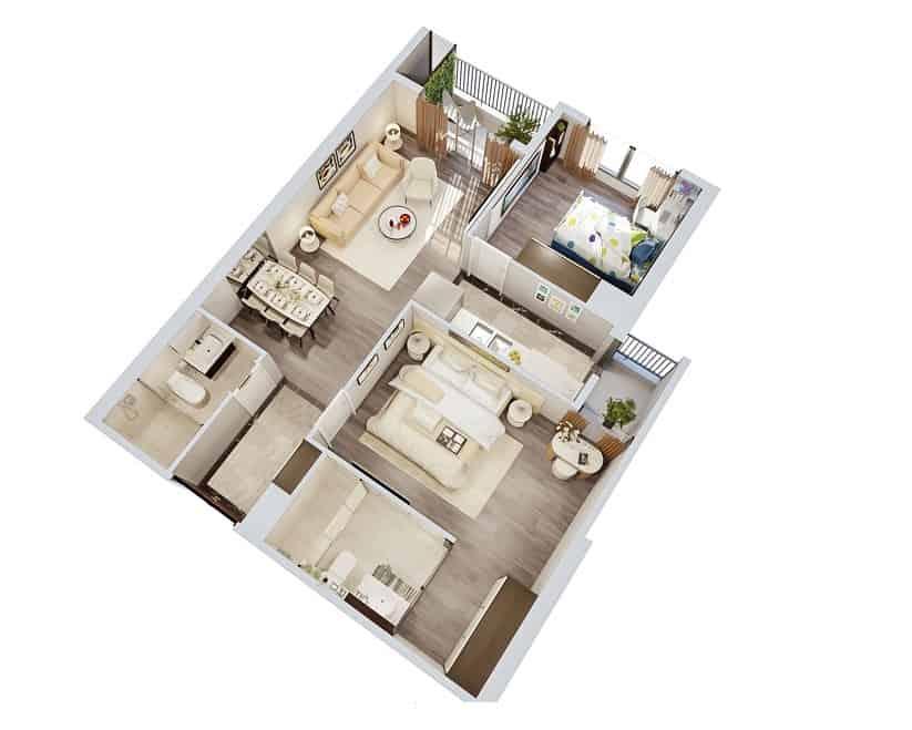 Top 20 Mẫu Thiết Kế Nội Thất 2 Phòng Ngủ Đẹp Ấn Tượng Nhất -  - mẫu thiết kế căn hộ 2 phòng ngủ | mẫu thiết kế nhà 2 phòng ngủ | Mẫu thiết kế nội thất đẹp 41