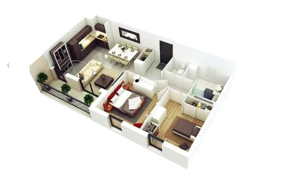 Top 20 Mẫu Thiết Kế Nội Thất 2 Phòng Ngủ Đẹp Ấn Tượng Nhất -  - mẫu thiết kế căn hộ 2 phòng ngủ | mẫu thiết kế nhà 2 phòng ngủ | Mẫu thiết kế nội thất đẹp 59