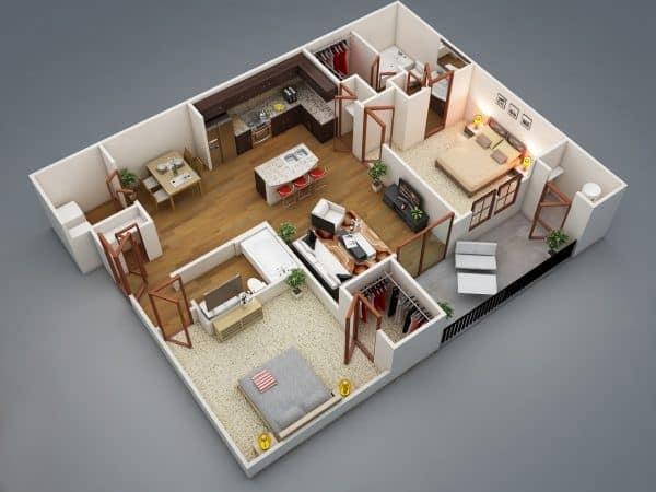 Top 20 Mẫu Thiết Kế Nội Thất 2 Phòng Ngủ Đẹp Ấn Tượng Nhất -  - mẫu thiết kế căn hộ 2 phòng ngủ | mẫu thiết kế nhà 2 phòng ngủ | Mẫu thiết kế nội thất đẹp 61