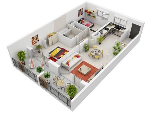 Top 20 Mẫu Thiết Kế Nội Thất 2 Phòng Ngủ Đẹp Ấn Tượng Nhất -  - mẫu thiết kế căn hộ 2 phòng ngủ | mẫu thiết kế nhà 2 phòng ngủ | Mẫu thiết kế nội thất đẹp 63