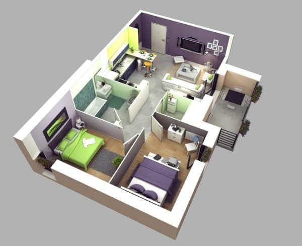 Top 20 Mẫu Thiết Kế Nội Thất 2 Phòng Ngủ Đẹp Ấn Tượng Nhất -  - mẫu thiết kế căn hộ 2 phòng ngủ | mẫu thiết kế nhà 2 phòng ngủ | Mẫu thiết kế nội thất đẹp 65