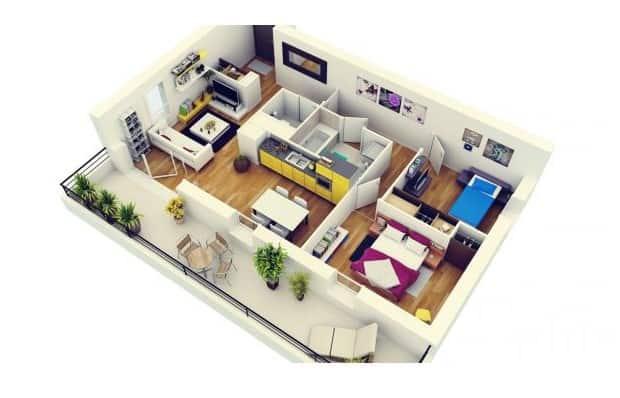 Top 20 Mẫu Thiết Kế Nội Thất 2 Phòng Ngủ Đẹp Ấn Tượng Nhất -  - mẫu thiết kế căn hộ 2 phòng ngủ | mẫu thiết kế nhà 2 phòng ngủ | Mẫu thiết kế nội thất đẹp 67