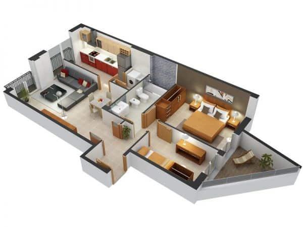 Top 20 Mẫu Thiết Kế Nội Thất 2 Phòng Ngủ Đẹp Ấn Tượng Nhất -  - mẫu thiết kế căn hộ 2 phòng ngủ | mẫu thiết kế nhà 2 phòng ngủ | Mẫu thiết kế nội thất đẹp 71