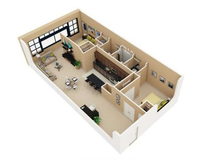 Top 20 Mẫu Thiết Kế Nội Thất 2 Phòng Ngủ Đẹp Ấn Tượng Nhất -  - mẫu thiết kế căn hộ 2 phòng ngủ | mẫu thiết kế nhà 2 phòng ngủ | Mẫu thiết kế nội thất đẹp 73