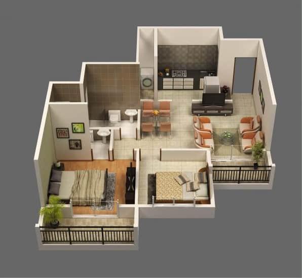 Top 20 Mẫu Thiết Kế Nội Thất 2 Phòng Ngủ Đẹp Ấn Tượng Nhất -  - mẫu thiết kế căn hộ 2 phòng ngủ | mẫu thiết kế nhà 2 phòng ngủ | Mẫu thiết kế nội thất đẹp 77