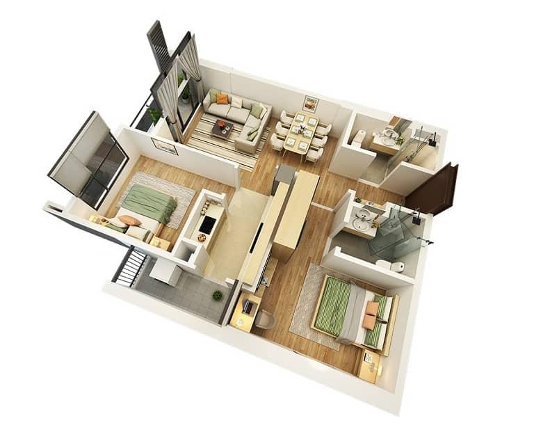 Top 20 Mẫu Thiết Kế Nội Thất 2 Phòng Ngủ Đẹp Ấn Tượng Nhất -  - mẫu thiết kế căn hộ 2 phòng ngủ | mẫu thiết kế nhà 2 phòng ngủ | Mẫu thiết kế nội thất đẹp 43