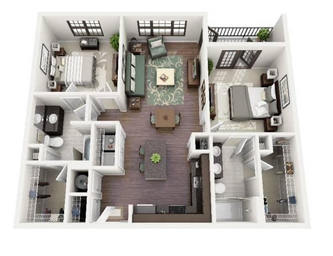 Top 20 Mẫu Thiết Kế Nội Thất 2 Phòng Ngủ Đẹp Ấn Tượng Nhất -  - mẫu thiết kế căn hộ 2 phòng ngủ | mẫu thiết kế nhà 2 phòng ngủ | Mẫu thiết kế nội thất đẹp 79