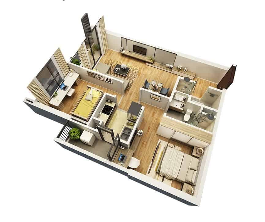 Top 20 Mẫu Thiết Kế Nội Thất 2 Phòng Ngủ Đẹp Ấn Tượng Nhất -  - mẫu thiết kế căn hộ 2 phòng ngủ | mẫu thiết kế nhà 2 phòng ngủ | Mẫu thiết kế nội thất đẹp 45