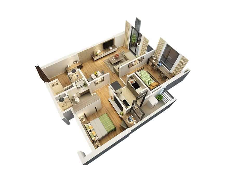Top 20 Mẫu Thiết Kế Nội Thất 2 Phòng Ngủ Đẹp Ấn Tượng Nhất -  - mẫu thiết kế căn hộ 2 phòng ngủ | mẫu thiết kế nhà 2 phòng ngủ | Mẫu thiết kế nội thất đẹp 47