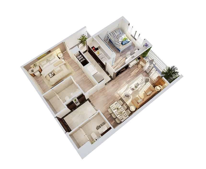 Top 20 Mẫu Thiết Kế Nội Thất 2 Phòng Ngủ Đẹp Ấn Tượng Nhất -  - mẫu thiết kế căn hộ 2 phòng ngủ | mẫu thiết kế nhà 2 phòng ngủ | Mẫu thiết kế nội thất đẹp 49
