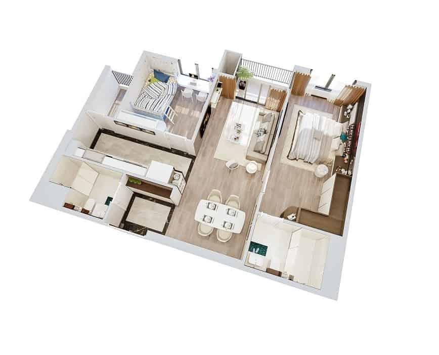 Top 20 Mẫu Thiết Kế Nội Thất 2 Phòng Ngủ Đẹp Ấn Tượng Nhất -  - mẫu thiết kế căn hộ 2 phòng ngủ | mẫu thiết kế nhà 2 phòng ngủ | Mẫu thiết kế nội thất đẹp 51
