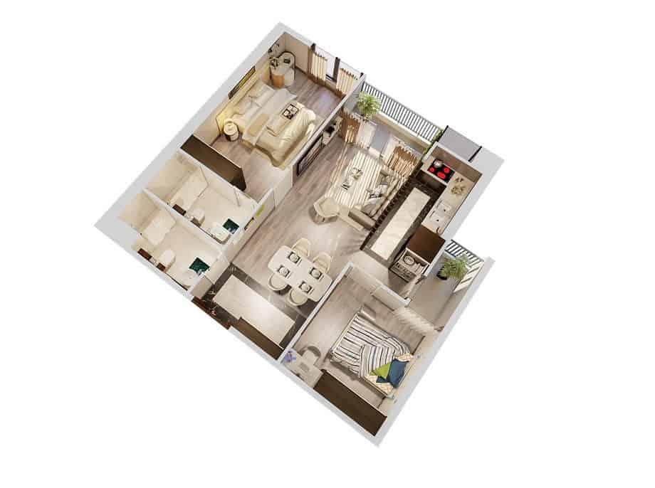 Top 20 Mẫu Thiết Kế Nội Thất 2 Phòng Ngủ Đẹp Ấn Tượng Nhất -  - mẫu thiết kế căn hộ 2 phòng ngủ | mẫu thiết kế nhà 2 phòng ngủ | Mẫu thiết kế nội thất đẹp 53