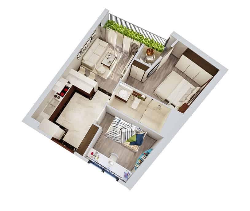 Top 20 Mẫu Thiết Kế Nội Thất 2 Phòng Ngủ Đẹp Ấn Tượng Nhất -  - mẫu thiết kế căn hộ 2 phòng ngủ | mẫu thiết kế nhà 2 phòng ngủ | Mẫu thiết kế nội thất đẹp 55