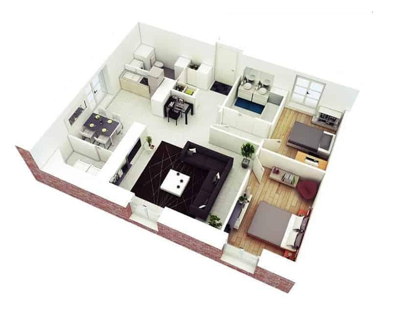 Top 20 Mẫu Thiết Kế Nội Thất 2 Phòng Ngủ Đẹp Ấn Tượng Nhất -  - mẫu thiết kế căn hộ 2 phòng ngủ | mẫu thiết kế nhà 2 phòng ngủ | Mẫu thiết kế nội thất đẹp 57