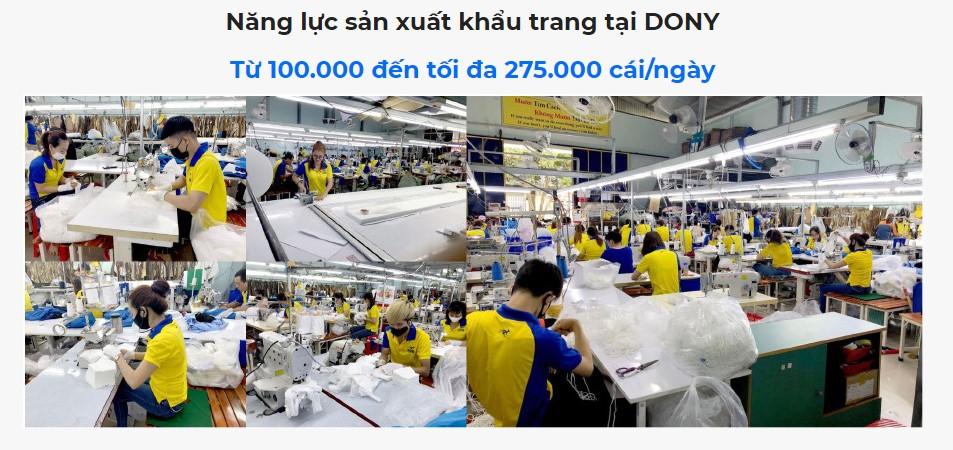 Năng lực sản xuất khẩu trang và đáp ứng thị trường của dony