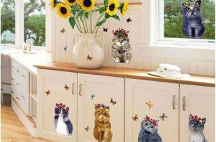 Mẫu 10: Decal dán tủ hình mèo